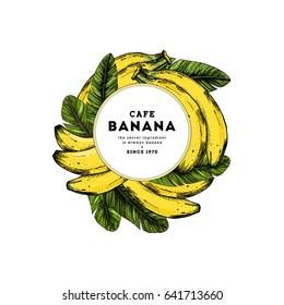 Summer fruit round composition. Banana illustration. Vector illustration