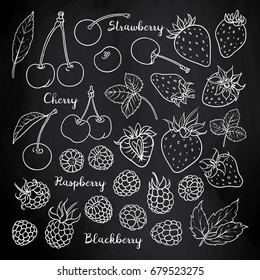 Summer fruits and berries set: cherry, strawberry, raspberry, blackberry. Collection for design on blackboard. Vector sketch