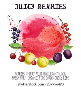 Summer fruits, berries.Vector Watercolor berry set with splash.Juice cherry,red ,black currant,e plump,leaves,lettering.Nature, ecology,fresh farm product.Design elements, template composition,poster.