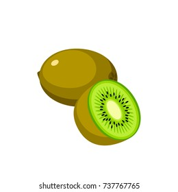 Summer fruits for healthy lifestyle. Kiwi, whole fruit and half. Vector illustration cartoon flat icon isolated on white.