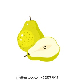 Summer fruits for healthy lifestyle. Yellow pear, whole fruit and half. Vector illustration cartoon flat icon isolated on white.