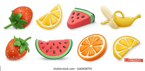 Summer fruits icon set with shadows. Strawberries, watermelon, lemon, orange, banana 3d vector objects. Plasticine art illustration