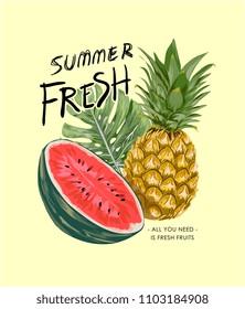 summer fruits illustration and slogan