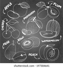 Summer fruits vector set: apple, plum, mandarin, cherry, pear, kiwi, watermelon, peach
