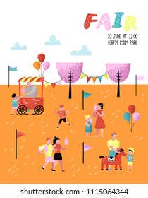 Summer Fun Fair Poster, Banner, Brochure. Amusement Park Characters with Cartoon People. Family Kids Vacation. Vector illustration