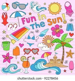 Summer Fun Psychedelic Groovy Notebook Doodle Design Elements Set on Pink Lined Sketchbook Paper Background- Vector Illustration