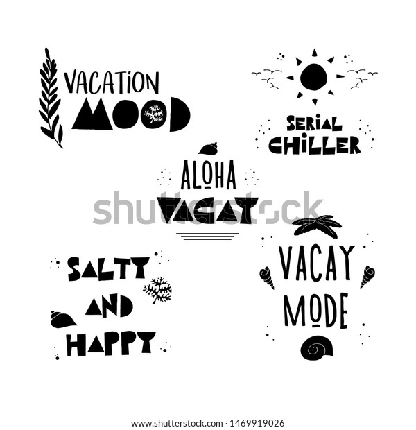 Summer Funny Black White Quotes Bundle Stock Vector Royalty