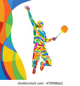 Summer Games abstract colorful pattern with Badminton player