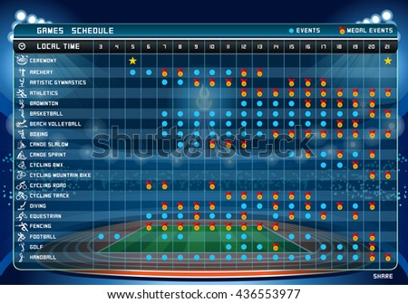 summer games sport schedule table 1 stock vector royalty free