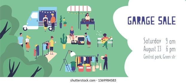 Summer garage sale, street flea market or rag fair banner or invitation template with people buying and selling goods outdoors. Flat cartoon vector illustration for event announcement and promotion.