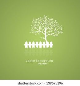 Summer garden with a tree and a light fence. Vector icons on a green background