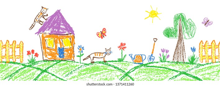 Summer garden or village seamless border. Gardening tools and funny doodle tabby cat. Like child hand drawing outdoor copy space. Crayon, pastel chalk or pencil vector flower, fence, house, rubber boo