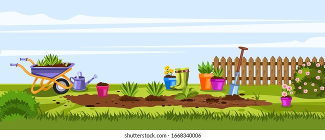 Summer gardening banner with wheelbarrow, pots, fence, blooming bushes, shovel, watering can and flowers. Backyard concept with garden equipment in cartoon style. Illustration with seedlings on ridge