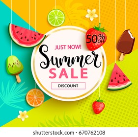 Summer geometric sale banner with fruits, ice-cream, flowers. Vector illustration.