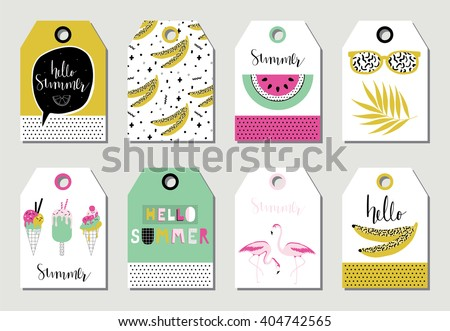 summer gift tags labels cute ice stock vector royalty free