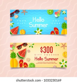 Summer gift voucher template. Summer composition with flat paper cut elements. Vector illustration. Design of Coupon Usable for Invitation and Ticket. Greeting Card with Seasonal Offer.