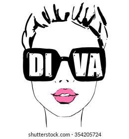 summer girl diva in glasses