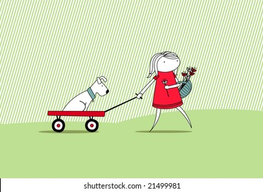 Summer girl with dog on cart