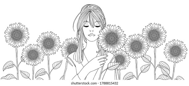 Summer. Girl with sunflowers. Woman is among flower field. Vector line illustration for coloring book page. Print for poster, decoration, web, magazines, wallpaper. Fashion horizontal artwork.