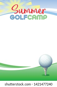 Summer Golf Camp. Template poster with realistic golf ball. Place for your text message. Vector illustration.