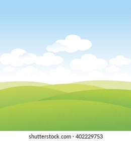 Summer. Golf courses. Landscape. Green Hills. Grasslands. Wasteland. Clouds in the sky. Vector illustration.