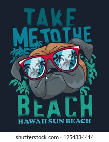 Summer graphich with cool dog vector design for t shirt