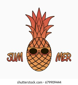 Summer graphics with pineapple in sunglasses. Design for clothes, apparel, logo, poster, banner, card. Vector illustration.