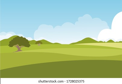 Summer green fields with grass,trees,white cloud and blue sky . background landscape.