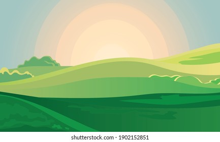 Summer green landscape field dawn above hills with grass. Sunrise in countryside. Cartoon eco park. Vector illustration nature background