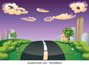 Summer green landscape with road to the city.