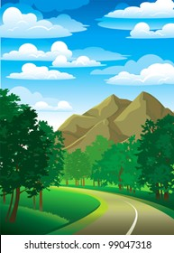 Summer green landscape with road, trees and mountain on a cloudy sky
