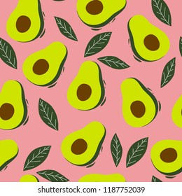 Summer green seamless pattern with avocado. Print with avocado for fabric. Vegan food illustration