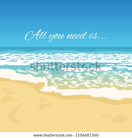 ff4e09422c4 Summer Greeting Beach View Typography Quote Stock Vector (Royalty ...