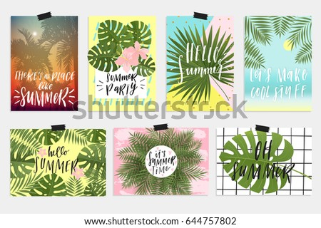 Summer greeting cards posters collection fun stock vector royalty summer greeting cards and posters collection fun elements hand drawn lettering textures set m4hsunfo