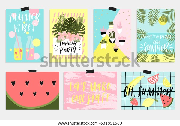Summer Greeting Cards Posters Fun Elements Stock Vector Royalty Free 631851560