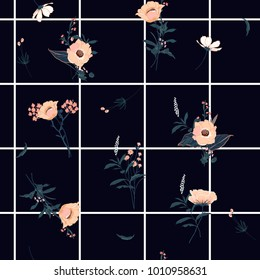Summer grid seamless pattern spring branch delicate and beautiful wild blooming flowers vector pattern with dark blue check or grid check for fashion ,wallpaper ,book ETC on navy blue