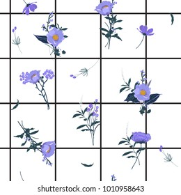 Summer grid seamless pattern spring branch delicate and beautiful wild blooming flowers vector pattern with bright check or grid check for fashion ,wallpaper ,book ETC on white