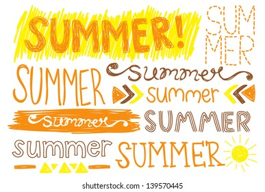 summer hand drawing typography