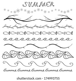 Summer hand drawn border set isolated on white