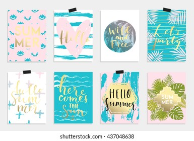 Summer hand drawn calligraphyc card set. Vector collection of bright pink blue gold summer cards. Beautiful summer posters with pineapple, banana, palm leaves and hand written text. Journal cards
