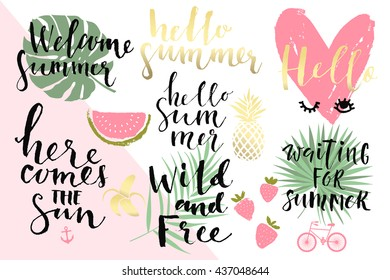 Summer hand drawn calligraphyc elements set. Vector collection of black, white, gold colored summer lettering. Beautiful summer quotes posters with palm leaves and hand written text. Journal stickers