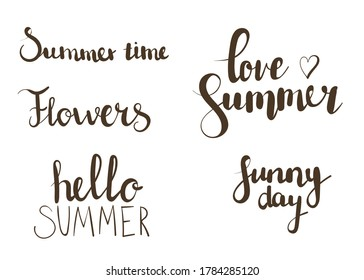 Summer hand drawn lettering. Can be used for greeting cards, posters, invitations, banners, web sites, blogs, flyers, booklets,certificates,stickers