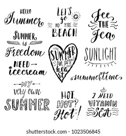 Summer hand drawn lettering inspirational quotes. Greeting cards, t-shirt apparel and print design template.