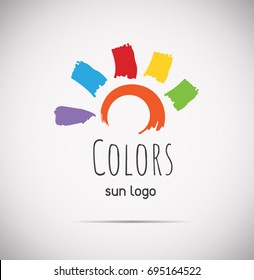 Summer hand drawn multicolor sun logo. Vector illustration isolated on gray gradient background.