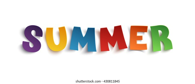 Summer, hand drawn typeface isolated on white background. Vector illustration.