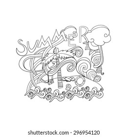 Summer hand lettering and doodles style elements. flat and isometric