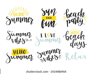 Summer hand lettering quotes. Summer labels, logos, tags, hand drawn elements. Modern brush calligraphy. Hello Summer, beach party, beach days, sun fun, relax.