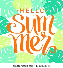 Summer, hand written lettering on tropical palm leaves background, vector illustration, summer nature poster.