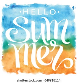 Summer, hand written lettering on blue and orange watercolor spot, vector illustration.