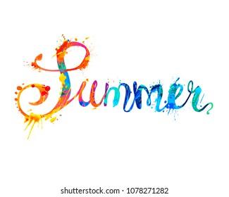 Summer. Hand written vector word of rainbow splash paint